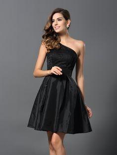 A-Line/Princess One-Shoulder Sleeveless Short Taffeta Bridesmaid Dresses
