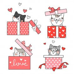 Draw vector illustration collection cat in gift box red color for Valentine's day.Isolated on white. Valentines Illustration, Illustration Noel, Valentines Watercolor, Valentines Day Drawing, Gift Drawing, Doodle Cartoon, Valentines Day Wishes, Doodles, Christmas Drawing