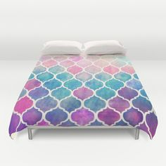 Rainbow Pastel Watercolor Moroccan Pattern Duvet Cover $100
