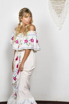 """""""Seeker Lover Keeper Nursing Dress"""" Embroidered Nursing Maxi Dress - Cross Stitch Fillyboo - Boho inspired maternity clothes online, maternity dresses, maternity tops and maternity jeans. Maternity Jeans, Maternity Tops, Maternity Dresses, Maternity Clothes Online, Nursing Dress, Hand Embroidery, Cross Stitch, Boho, Inspired"""