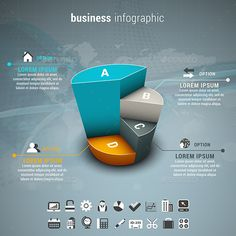 Business Infographic by grki Vector illustration of business infographic made of pie chart. ZIP includes free font link, AI, PSD a Infographic Powerpoint, Powerpoint Charts, Powerpoint Design Templates, Infographic Templates, Infographics Design, Web Design, Graph Design, Creative Design, Information Visualization
