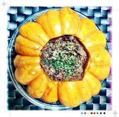 Aprenda a preparar a receita de Abóbora moranga recheada com carne seca feita no micro-ondas