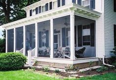 With retractable pull down screens for patios, porches & garage doors, you'll be able to enclose any sctructure in a bug-free area. Get yours today! Screened Front Porches, Screened Porch Designs, Enclosed Porches, Decks And Porches, Front Verandah, House With Porch, House Front, Farmers Porch, Building A Porch