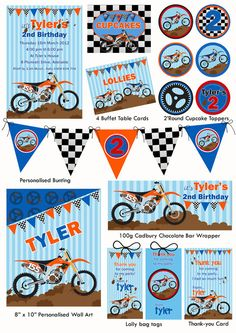 Motorbike Party Printable Stationery Pack by TweetPartyBoutique, $40.00