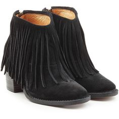 Fiorentini & Baker Ramones Fringed Suede Ankle Boots ($285) ❤ liked on Polyvore featuring shoes, boots, ankle booties, black, suede ankle boots, black boots, black fringe bootie, black bootie and suede fringe booties