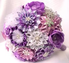 Wedding Bouquet brooch bouquet Lily Mauve Purple and by LIKKO