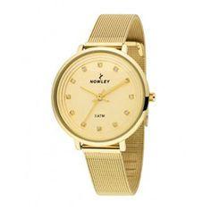 Reloj #nowley mujer de caja metálica dorada con pulsera de acero también dorada tipo malla milanesa. #modamujer #moda #precioso