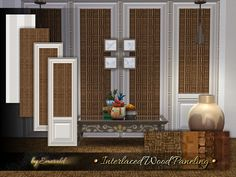 Exotic wood paneling is truly unique with new styles and extremely versatile. It can also be blended in with other wallpaper designs.  Found in TSR Category 'Sims 4 Walls & Floors Sets'