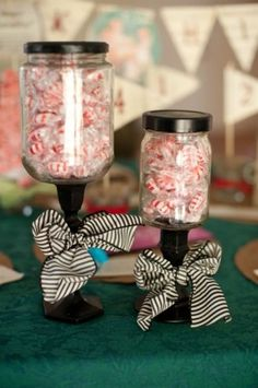 These are mason jars glued to candle sticks! you can make just about anything with them. this is a great wedsite on how to make them.