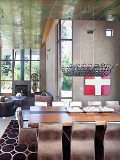 Sala em estilo rustico com o uso do cimento