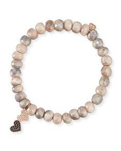 8mm Moonstone Beaded Bracelet w/ 14k Diamond Double-Heart Charm