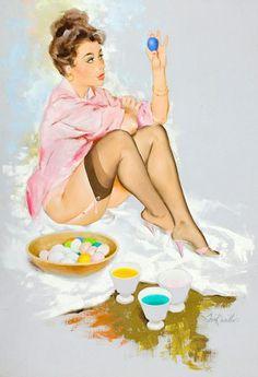 Easter Vintage Pin Up Girl Illustration | Pin-Up Girls | Sugary.Sweet | #PinUp #Art #Vintage #Illustration