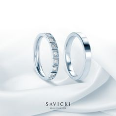 Wedding ring set made of white gold. A wedding ring for her with cubic zirconias. It is possible to order the rings without gemstones. Free engraving of the wedding rings upon your request. Love two people share is like a romantic story – full of passion and secrets kept away from the world, known only to lovers. Each memory is meaningful and expresses a different shade of that love. Love needs its pair just like a wedding ring. #weddingrings #weddingringset #wedding #love Wedding Ring For Her, Wedding Rings Simple, Wedding Bands, Loving Two People, Titanium Wedding Rings, White Gold, Lovers, Passion, Romantic