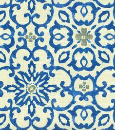 HGTV HOME Decor Print Fabric Souvenir Scroll Azure