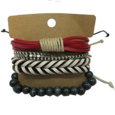 Red White Leather Beads Bracelets Set GBR10050