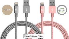 Pack] LAX Long Apple MFi Certified iPhone Cable Charger - Durable Braided Lightning Cord for iPhone / Plus / 6 / 6 Plus / / / 5 / iPad Air 2 / Air / Mini 4 / 3 / 2 / Pro / (Gold) Best Iphone, Iphone 11, Apple Iphone, Car Gadgets, Iphone Charger, Ipod Nano, Ipad Air 2, Computer Accessories, 6s Plus