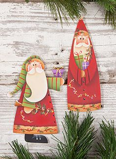 Santa & Presents Ornaments from the book Winter Whimsy, Vol. 4 by Renee Mullins. Book and wood surface available at www.ArtistsClub.com