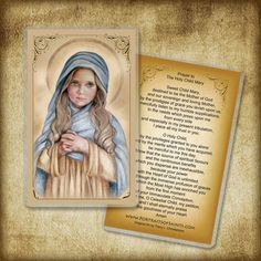 The Child Mary Holy Card / Prayer Card Virgin by PortraitsofSaints