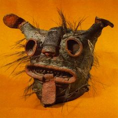 Mexican Tigre Mask; Zitala, Guerrero (Nahua Guerrerense), Leather, wild boar bristles, paint [Photographed by; Donald Bush Cordry], Nd.
