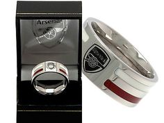 Arsenal fc #stainless #steel coloured #stripe band ring complete in gift box , View more on the LINK: http://www.zeppy.io/product/gb/2/191212358446/