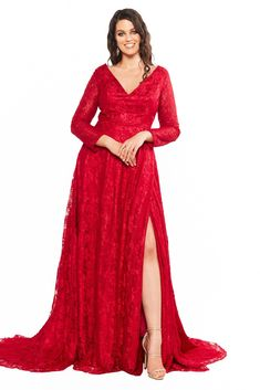 Gracie is a timelessly elegant long sleeved lace gown featuring a feminine V-neckline & long train with side slit. Curve Prom Dresses, Glam Dresses, Formal Dress Shops, Formal Dresses, V Neck Dress, Lace Dress, Satin Gown, Red Lace, Plus Size Dresses