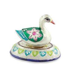 Meenakari sterling silver figurine, 'Varanasi Duck' by NOVICA