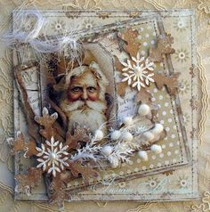 Love the Vintage Santa on this card and the Kraft paper snowflakes. Christmas Cards 2017, Create Christmas Cards, Christmas Paper Crafts, Christmas Scrapbook, Noel Christmas, Vintage Christmas Cards, Xmas Cards, Vintage Cards, Handmade Christmas