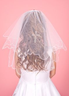 Elegant Communion Veil with Pearl Cross - LA141 Linzi Jay Veil - Scalloped Edge with Scattered Pearls - Communion veil for a girl Linzi Jay First
