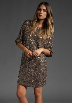 Vince Cluster Sequin Dress in Antique Gold