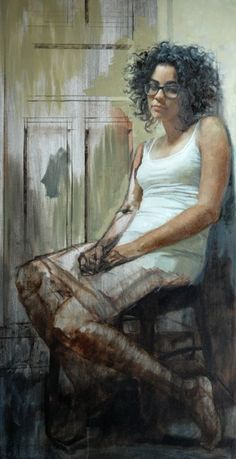 """Instant"" - Justin Taylor, oil on canvas {figurative woman painting} Insanely good!"