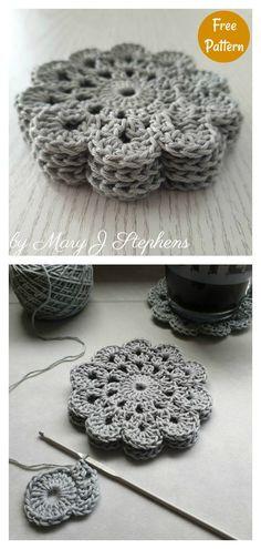 Crochet Simple, Crochet Diy, Crochet Motifs, Basic Crochet Stitches, Crochet Basics, Easy Crochet Patterns, Crochet Coaster Pattern Free, Crochet Accessories Free Pattern, Crochet Dollies