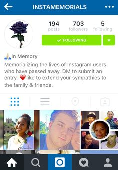 Instamemorials is an #Instagram #memorial account, paying tribute to people who have died. #bereavement #Socialembers