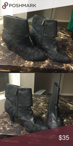 BC black leather heel boots Cute black leather boots, good condition. BC Footwear Shoes Heeled Boots
