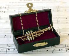Trumpet Necklace in Case Music Necklace Trumpet by twopennylane