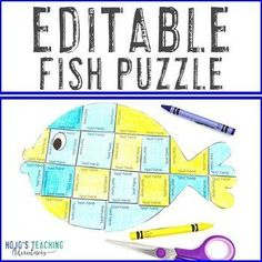 EDITABLE Fish Puzzle | FUN Activities for ANY Topic or an Ocean Theme Room! |  1st, 2nd, 3rd, 4th, 5th, 7th, 8th grade, Activities, English Language Arts, Fun Stuff, Games, Homeschool, Math, Middle School, Science