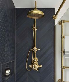 Urban Townhouse Case Study / Drummonds Bathrooms Shower with dark grey tiling and brass shower head and taps Bathroom Interior Design, Decor Interior Design, Interior Ideas, Luxury Interior, Stylish Interior, Interior Decorating, Contemporary Interior, Vintage Interior Design, Church Interior