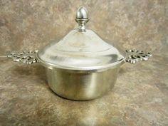 Vintage Woodbury Pewter Double Handle Porringer Dip Serving Bowl Dish with Lid