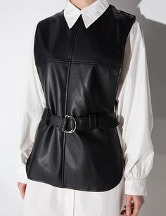 Black Belted Leather Vest #pixiemarket #womenclothing #fashion @pixiemarket