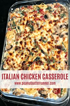 A creamy baked pasta dish that's packed with chicken, spinach, sundried tomatoes and mushrooms and topped with cheese! #recipe #pasta #chicken #casserole
