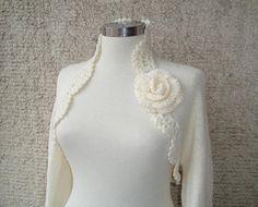 Dreamy Bridal Ivory Shrug Knitting Undecorated by Starknitting, $85.00