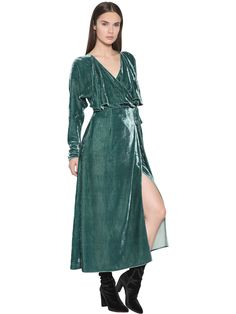 Attico | Teal Velvet Wrap Dress | Lyst