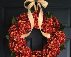 Hydrangea Door Wreath Fall Wreath Wreaths for Door Front Summer Door Wreaths, Wreaths For Front Door, Holiday Wreaths, Wreath Fall, Holiday Decor, Artificial Hydrangea Flowers, Hydrangea Wreath, Outdoor Wreaths, Year Round Wreath