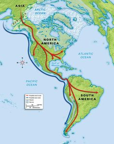 There are 2 theories as to how the first people arrived in the Americas: 1. Hunters followed herds of bison and mammoths across a land bridge between Siberia and Alaska, which is where the Bering Strait is today.  After crossing the bridge, they then traveled south through North America and into Central and South America. 2. People migrated along coastal routes by possibly paddling small boats.