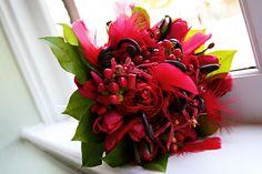 Shades of red.  Bridal bouquet by Kebbie Hollingsworth Floral Design