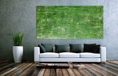 Abstraktes Acrylbild grünes Muster 200x100cm von xxl-art.de