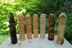 Carvings so far. From the left, Frey,Freyja,Thor,Odin,Frig, Loki and Hela