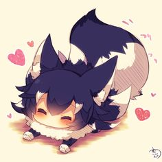 Aww to cute! Anime Wolf Girl, Anime Girl Neko, Anime Chibi, Anime Girls, Tv Anime, Anime Plus, Manga Anime, Anime Art, Kawaii Chibi