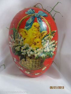 antique  German easter egg Dresden candy container chick in basket