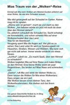 """Mias Traum von der """"Wolken""""-Reise   Komm mit ins Land der Fantasie Storytelling, Kindergarten, German, Words, Children, Elke Bräunling, Blog, Sport, Sink Tops"""