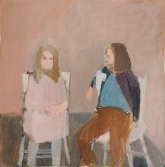 """Untitled (Two Figures), Fairfield Porter, oil on canvas, 36 x 36"""", Parrish Art Museum."""